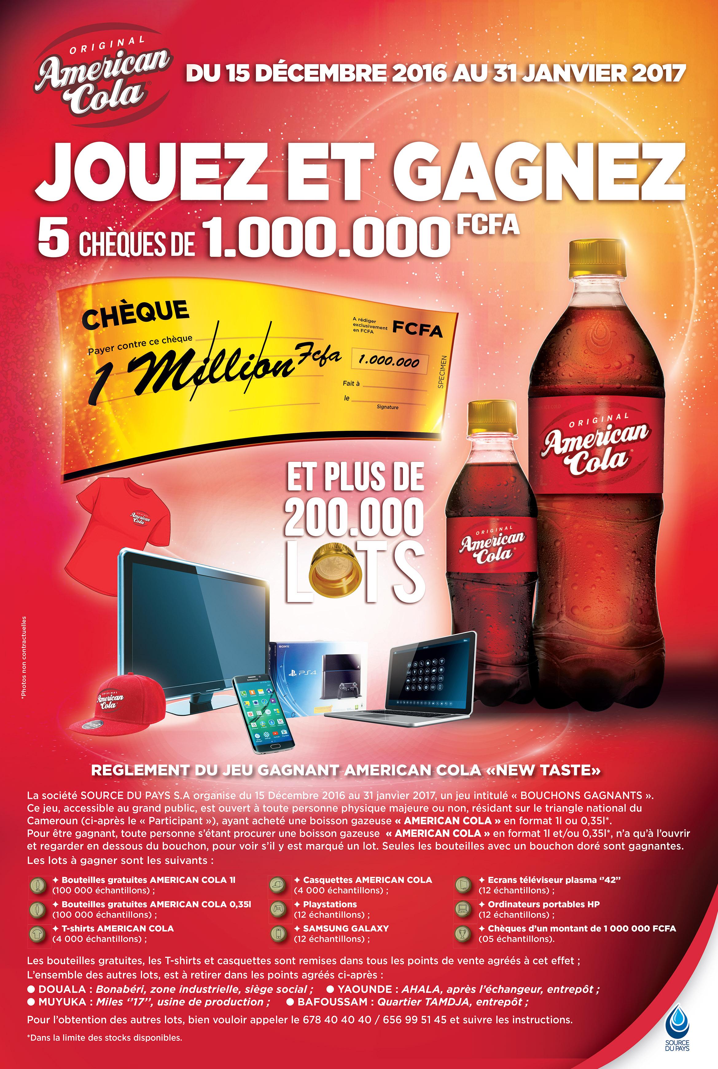 jeu American Cola Bouchons gagnats